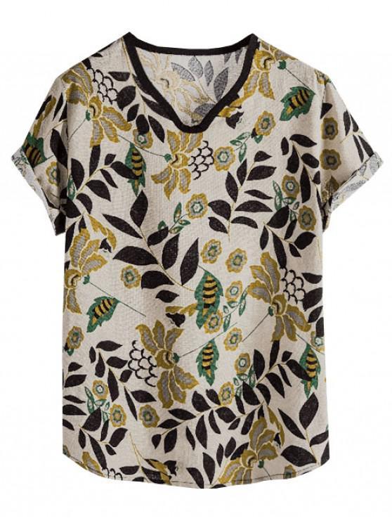 Ethnic Wildflower Print Rolled Sleeve T Shirt - متعدد XL