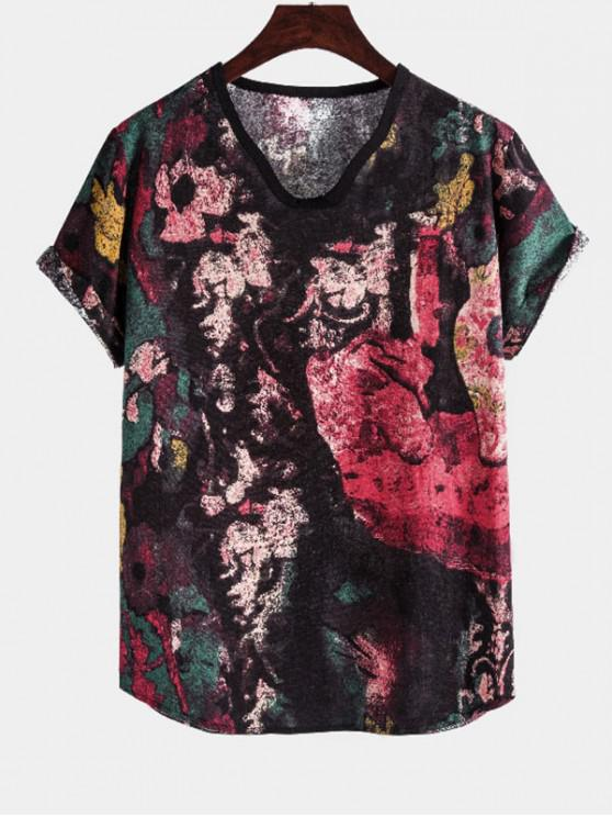 Printed Short Sleeve Ethnic Linen T Shirt - متعدد M