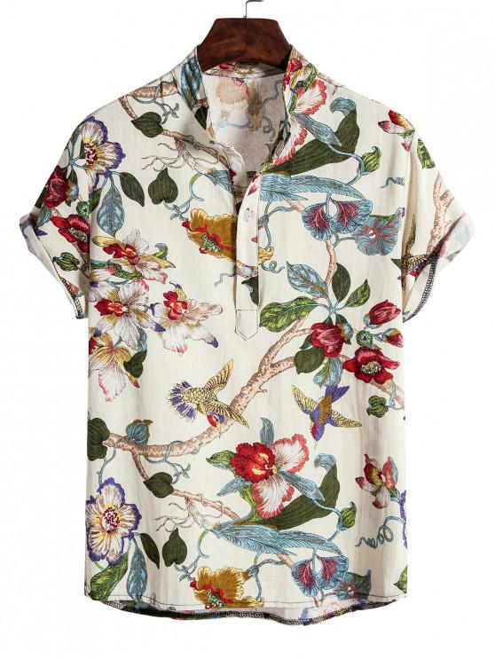 ladies Ethnic Floral Birds Print Stand Collar Henley Shirt - WHITE XL
