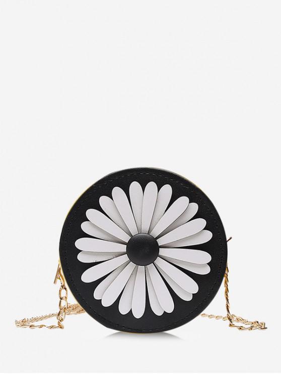 Floral Mini Round Chain Crossbody Bag - Negru