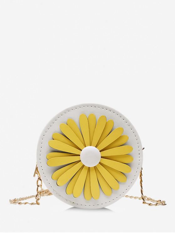 fashion Floral Mini Round Chain Crossbody Bag - WHITE
