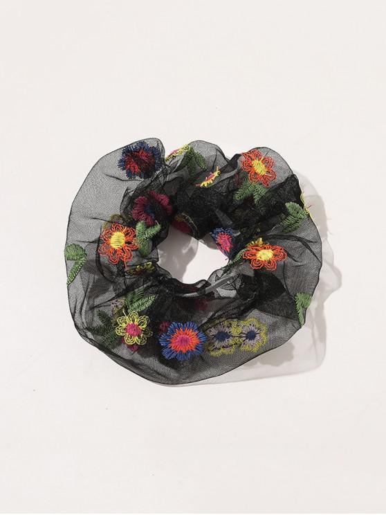 ladies Floral Embroidery Mesh Scrunchy - BLACK