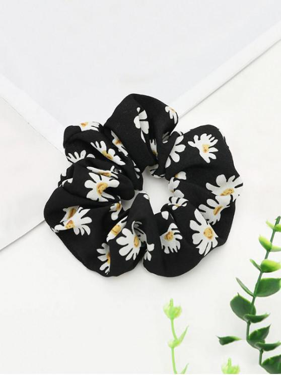 women's Daisy Printed Elastic Fabric Scrunchy - BLACK