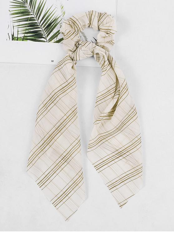 womens Rabbit Ear Plaid Print Elastic Scrunchies - WHITE