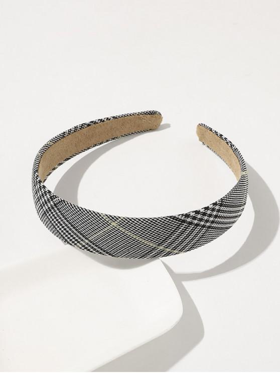 latest Plaid Printed Wide Hairband - BLACK