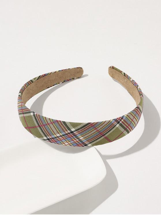 trendy Plaid Printed Wide Hairband - GREEN