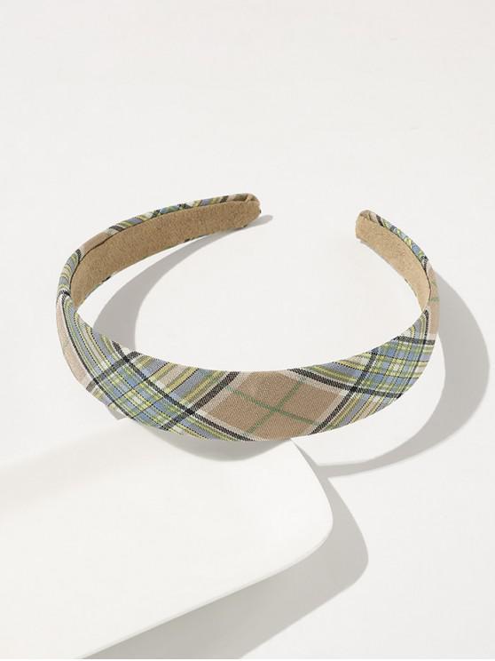 fashion Plaid Printed Wide Hairband - COFFEE