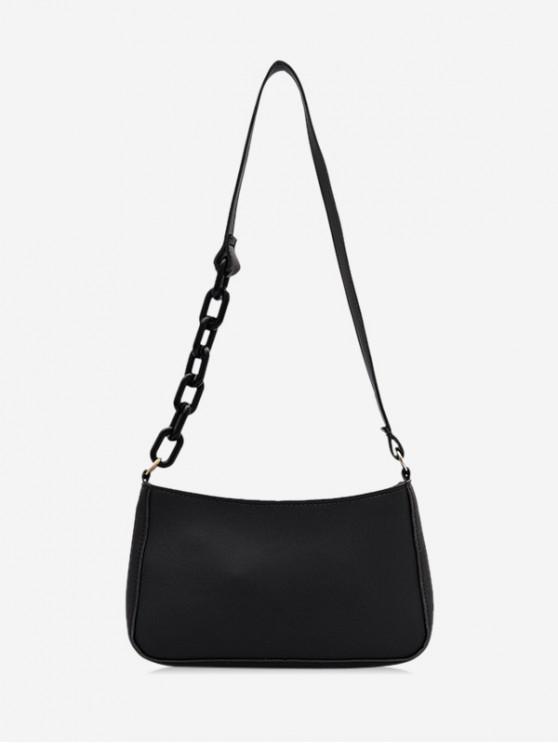 latest Solid Color Leather One Shoulder Bag - BLACK