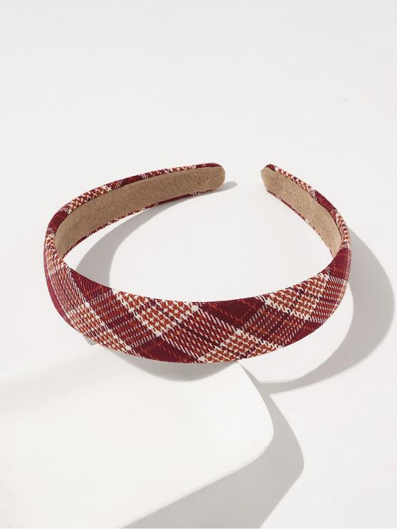 fancy Plaid Printed Wide Hairband - RED