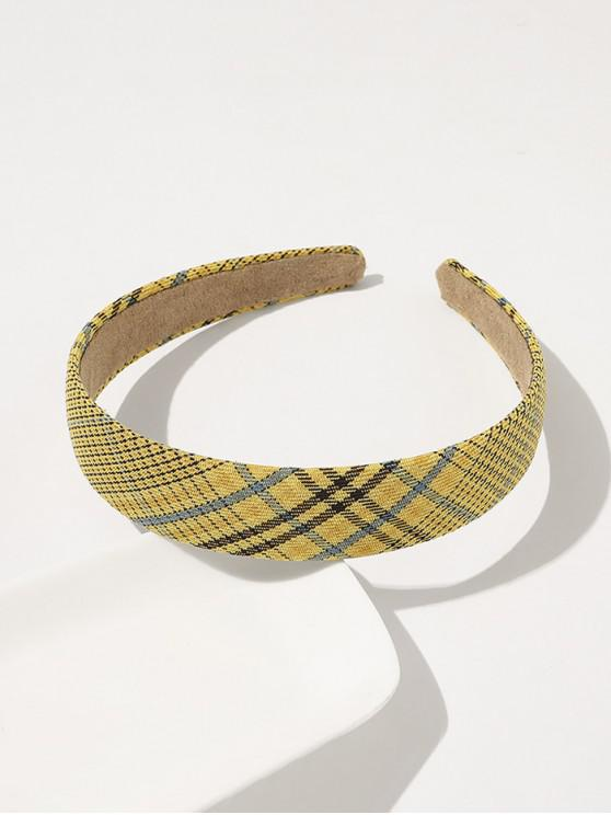 sale Plaid Printed Wide Hairband - YELLOW