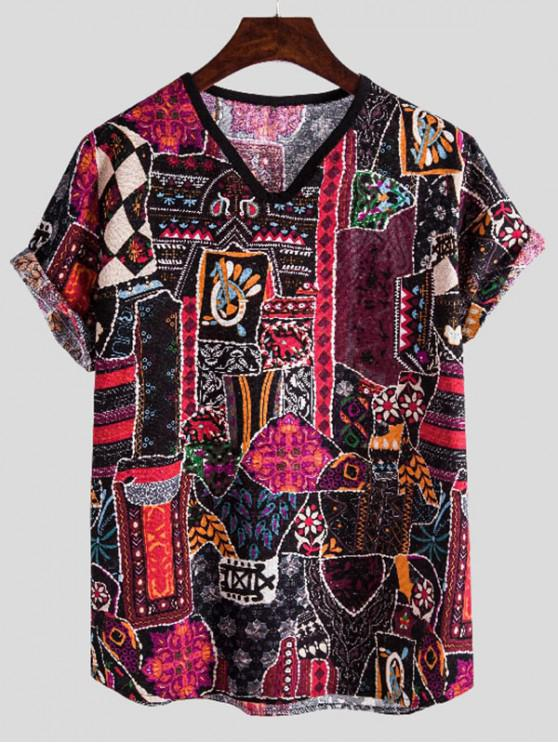 Ethnic Print Rolled Sleeve V Neck T Shirt - متعدد M