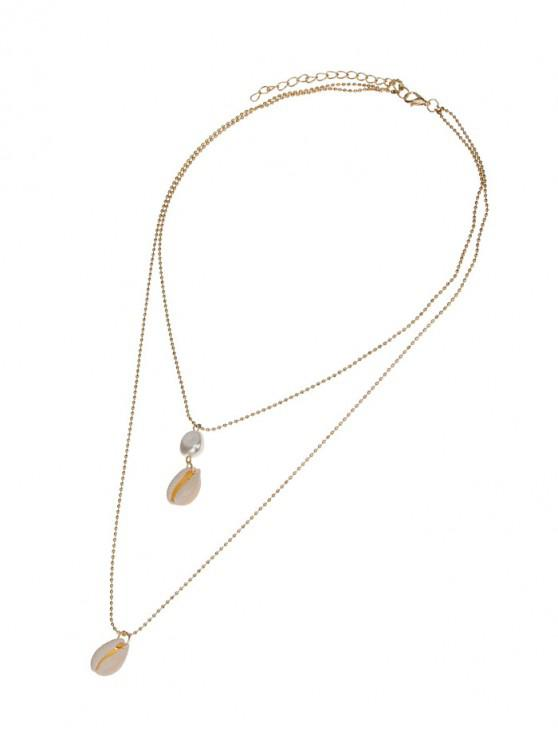 outfit Double Layered Cowrie Shell Necklace - GOLDEN