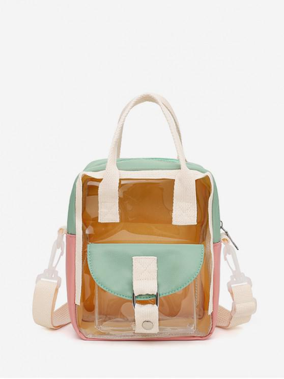 buy Colorblock Transparent Jelly Flap Pocket Mini Backpack - GREEN