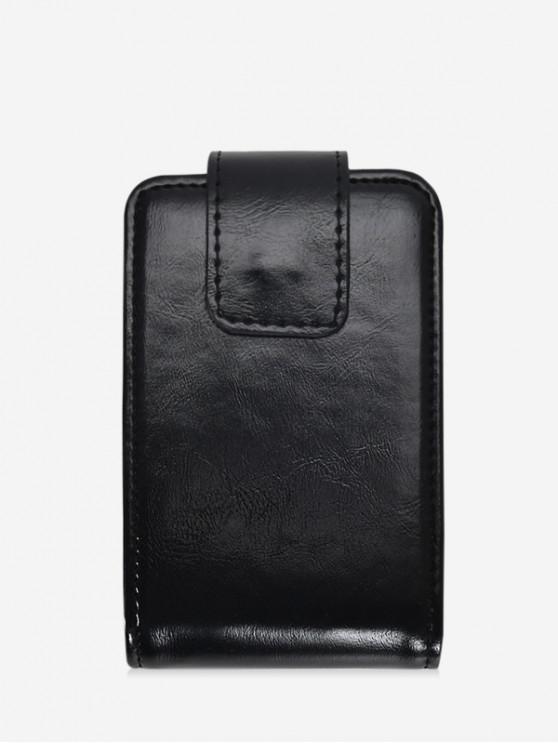 fashion Pure Color Leather Clutch Lipstick Pouch - BLACK