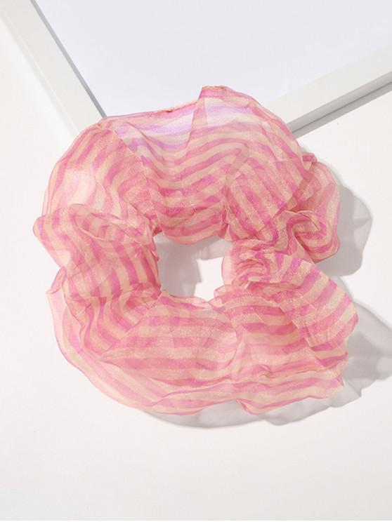 unique Organza Elastic Stripes Print Scrunchy - LIGHT PINK