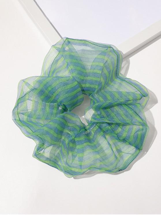 Organza Elastic Stripes Print Scrunchy - اخضر فاتح