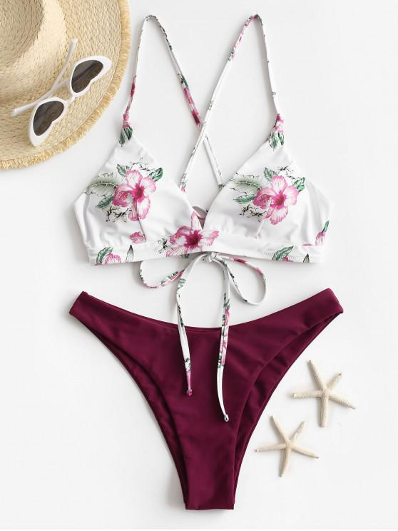 new ZAFUL Floral Crisscross High Cut Bikini Swimsuit - DEEP RED S