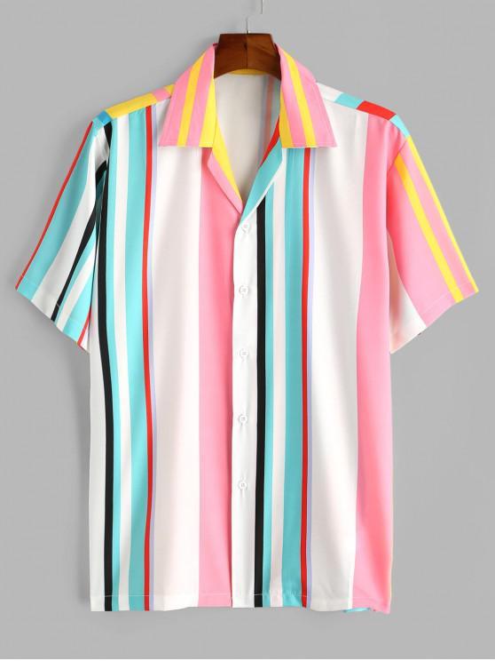 fashion Colorblock Stripes Button Up Shirt - WHITE 2XL