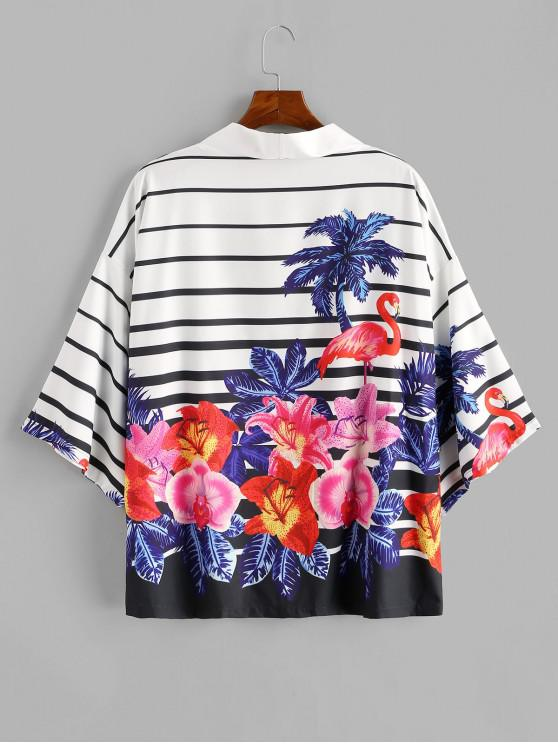 Tropical Plant Flamingo Striped Kimono Cardigan - كوبالت بلو 2XL