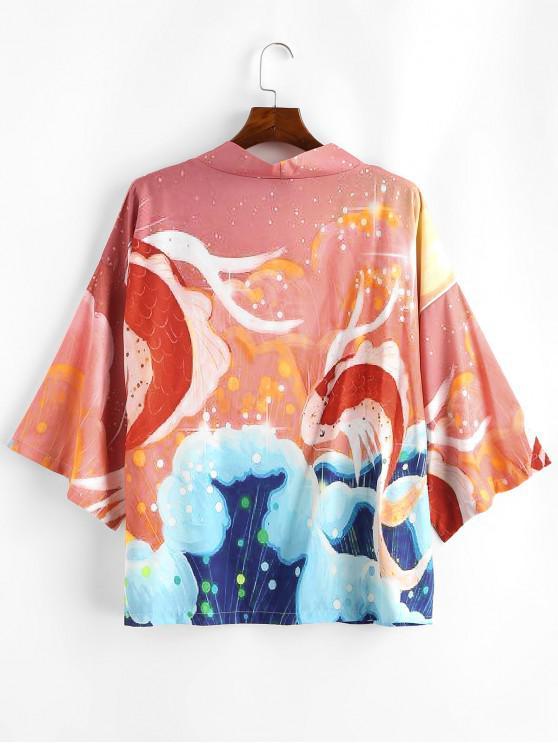 online Koi Fish Graphic Oriental Kimono Cardigan - PUMPKIN ORANGE 2XL