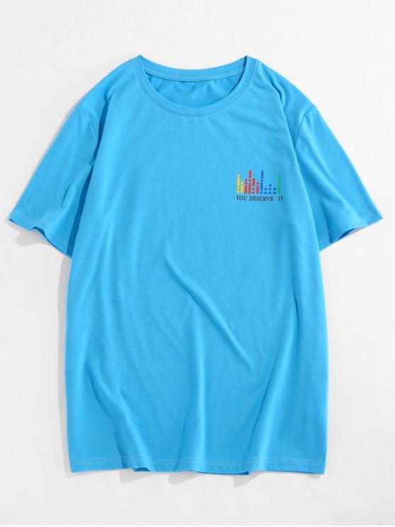 ZAFUL T-shirt Graphique Slogan Imprimé à Col Rond - Bleu S