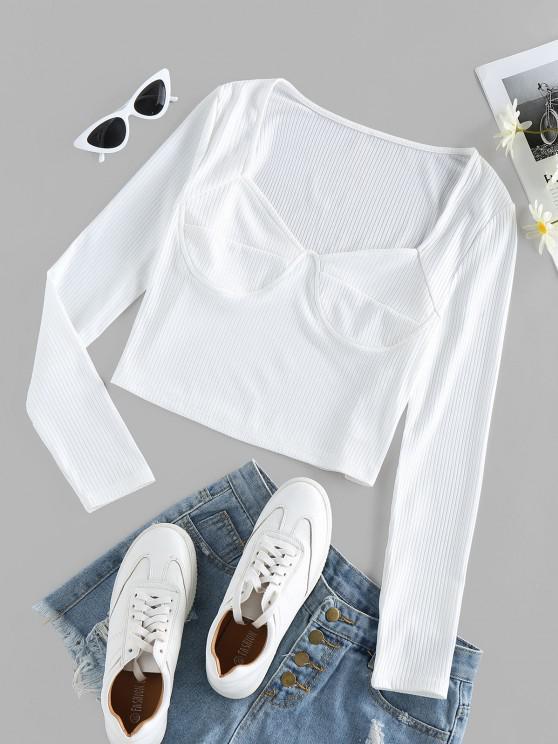 fashion ZAFUL Ribbed Sweetheart Neck Tee - MILK WHITE M