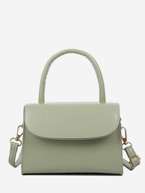 latest Solid Color Flap Top Handle Mini Crossbody Bag - LIGHT GREEN