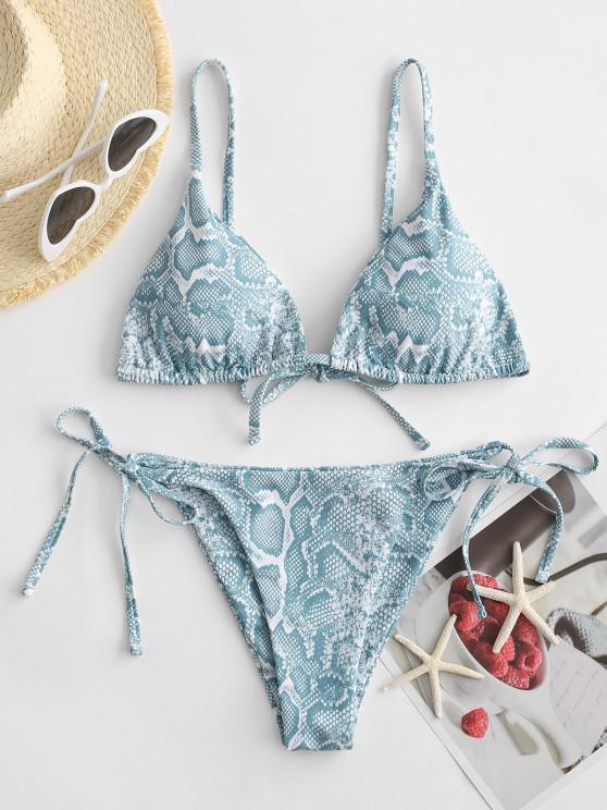Bikini Annodato con Stampa Animalier di ZAFUL - Azzurro S