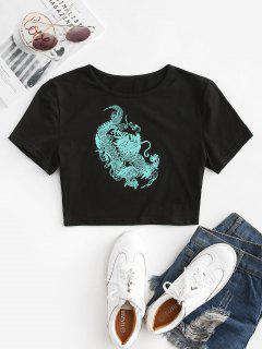 T-shirt Court Dragon Chinois Imprimé - Vert L