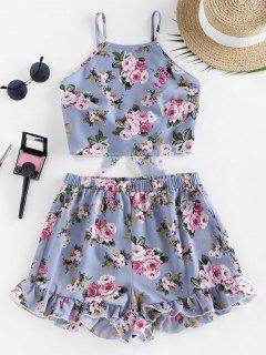 ZAFUL Flower Tie Back Ruffle Wide Leg Shorts Set - Blue Gray M