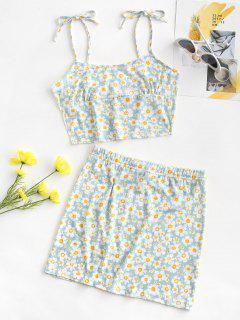 Tie Floral Two Piece Dress - Light Blue M