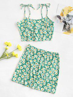 Tie Floral Two Piece Dress - Green L