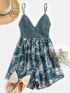 ZAFUL Tie Back Crochet Panel Leaves Print Romper - Deep Green S