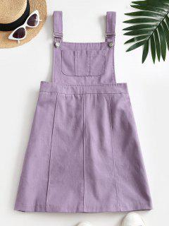 Casual Pockets Overalls Mini Dress - Purple S
