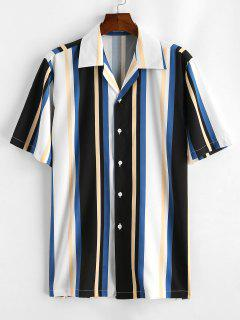 Striped Colorful Printed Short Sleeves Shirt - White L