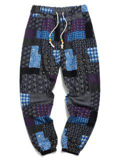 Tribal Ditsy Patchwork Print Long Jogger Pants - Deep Blue Xs