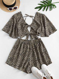 Dalmatians Dots Knotted Two Piece Set - Light Coffee S