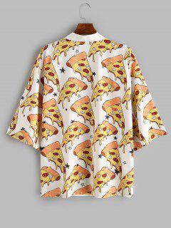 Pizza Print Open Front Kimono Cardigan - White Xs