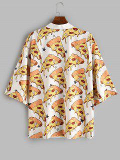 Pizza Print Open Front Kimono Cardigan - White 2xl