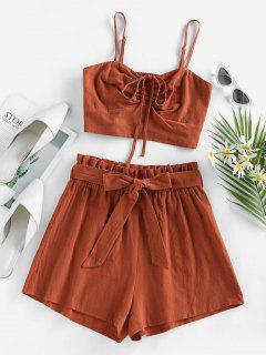 ZAFUL Cinched Top And Paperbag Shorts Two Piece Set - Brown M