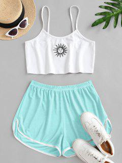 Sun Embroidered Contrast Piping Two Piece Set - Light Blue M