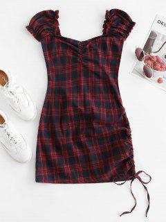 Cinched Side Gathered Plaid Mini Dress - Deep Red M