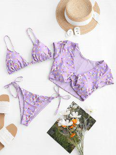 ZAFUL Floral Ring Reversible Three Piece Swimsuit - Light Purple M