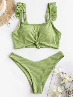 ZAFUL Torça Frente Cable Knit Montantes Do Bebê - Verde De Ervilhas   M