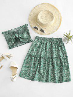 Ditsy Floral Tie Front Smocked Bandeau Top Set - Green L