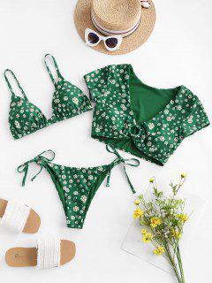 Costume Da Bagno A Tre Pezzi Floreale Di ZAFUL - Verde Intenso S
