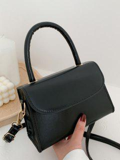 Solid Color Flap Top Handle Mini Crossbody Bag - Black