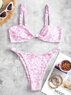 ZAFUL Animal Print Elasticated Straps Knot Bikini Swimwear - Light Pink M