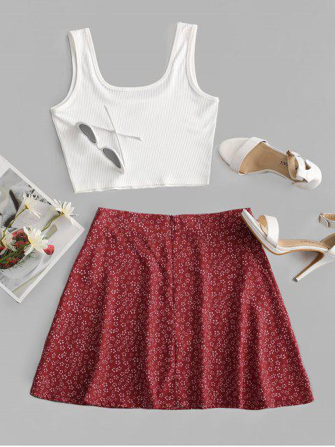 lady Ditsy Print Ribbed Two Piece Dress - WHITE XL Mobile