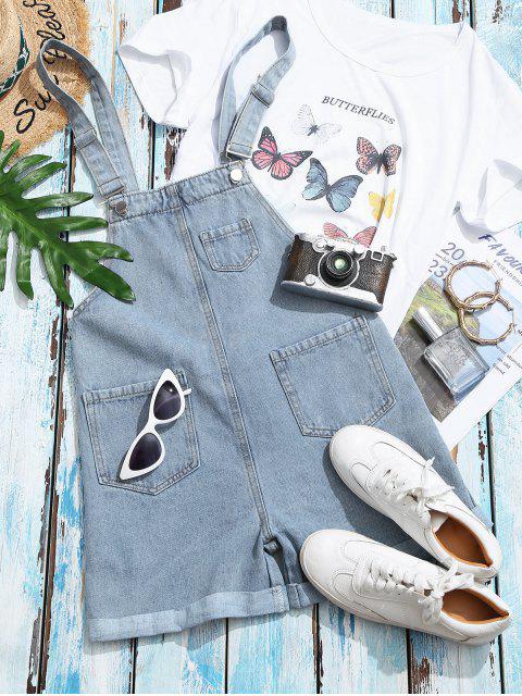 womens Cuffed Hem Pockets Denim Overalls Romper - LIGHT BLUE XL Mobile